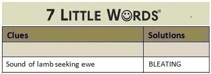 Sound of lamb seeking ewe 7 Little Words Answers